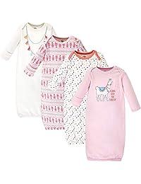 Hudson Baby Little Treasure 中性款婴儿棉质睡袍,Llama 4 件装,0-6 个月