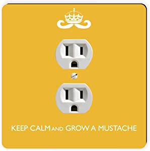 Rikki Knight Keep Calm and Grow a Mustache Yellow Color Single Outlet Plate