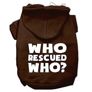 Mirage Pet Products Who Rescued Who 丝网印花宠物连帽衫 棕色 X大码