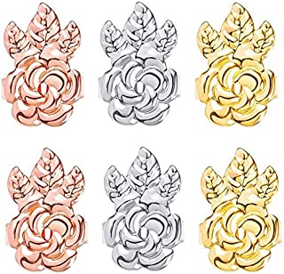 高级 3 对防*耳环背部可调节耳环升降方便用于耳垂举重器(镀金,镀银,玫瑰金 - 花朵风格)