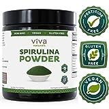 Viva Naturals 螺旋藻粉: 加州栽培,不刺激,不含杀虫剂 - 绿食食品,能搭配健盈昔及果汁,8 盎司(226.8 克)