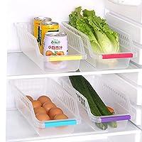 Rumiday 冰箱塑料镂空收纳篮 整理篮 (4个装)食品饮料抽屉式储物盒 储存盒浴室桌面食品抽屉式储物盒