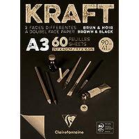 Clairefontaine Block 牛皮纸 29,7 x 42cm Kraft Brun/Noir
