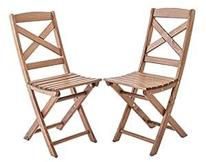ambientehome 折叠椅折叠椅椅子阳台椅子实心木 Lotta, 2件套 棕色 ca. 36 x 52 x 87 cm, Sitzhöhe: ca. 45 cm
