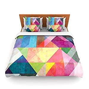 Kess InHouse Mareike Boehmer 拼色彩虹抽象双抓绒羽绒被套,68 x 88 英寸