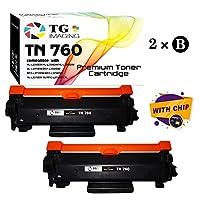 (新芯片,2 件装)兼容 TN-760 TN760 墨粉盒,适用于 Brother DCP-L2550D MFC-L2750DW HL-L2370DW 打印机,TG Imaging 销售