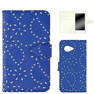 ホワイトナッツ ラメフラワー ケース 手帳型 蓝色 4_ AQUOS Xx2 mini 503SH
