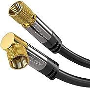 KabelDirekt 卫星信号线 90° 度 F 插头(F 插头同轴电缆,适用于电视、高清电视、收音机、DVB-T2、DVB-C、DVB-S、DVB-S2 - Pro 系列)1020  1x 90° gewinkelt 3m