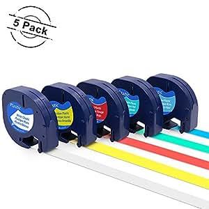 """兼容 DYMO LetraTag 标签带 1/2-Inch (0.47"""") 12mm Black on Color Tape"""