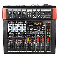 Audio2000'S AMX7381 四通道供电音频混音器,320 DSP 音效,立体声子输出,带减去级别控制衰减器,所有声道上的水平控制衰减器,以及 USB / 计算机接口
