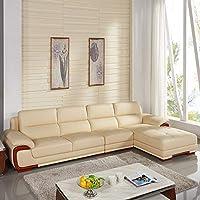 【下单赠价值998元真皮圆凳1个】左右 现代中式 真皮沙发组合 头层牛皮 大户型客厅组合沙发 DZY2606-1 转二件正向+休单(3+1+躺位)米黄色