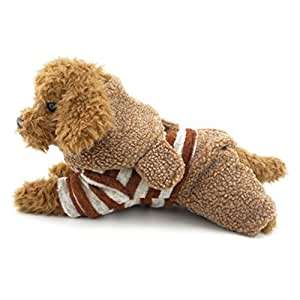 SMALLLEE_LUCKY_STORE 羊毛狗狗毛衣外套条纹兔子连帽冬季小狗衣服,L 码,棕色 棕色 XL