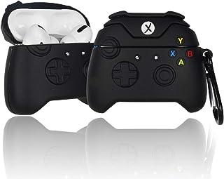 游戏控制器 Airpods Pro 保护套带钥匙链,Micyou Cool Airpods Pro 保护套硅胶3D卡通保护套适用于 AirPods Pro/Airpods 3(黑色)