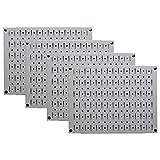 Pegboard Wall Organizer 瓷砖 - 墙壁控制模块化金属钉板瓷砖套装 - 四个 12 英寸高 x 16 英寸宽的木栓板板墙纸存储瓷砖 - 易于安装 灰色 PEG-BOARD-1264 G