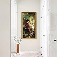 ANNDR 岸朵 世界名画油画 情侣秋千 酒店卧室玄关卫生间装饰画 高清时尚无框画 挂画壁画 (金色框, 36cm*66cm)