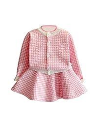 C&M Wodro 女童连衣裙,秋冬幼儿幼儿格子针织毛衣连衣裙套装女婴外套上衣+裙套装 粉红色 Size 15 (6-7 Years)