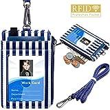 带拉链的徽章夹,ELV PU 皮革身份证卡夹,带 5 个卡槽,1 个侧面 RFID 屏蔽口袋和 20 英寸颈绳/表带,适用于办公室身份证、学校身份证、驾驶证。 条纹