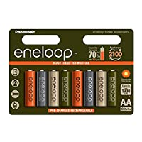Eneloop 可充电AA探险电池 1,900mAh,NiMH即时可使用充电电池。 可充电2,100次 - 限量版8件装。