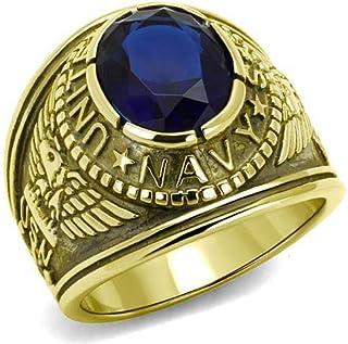 YVO 可定制*蓝戒指 - 包括免费雕刻 - 抛光不锈钢或镀金