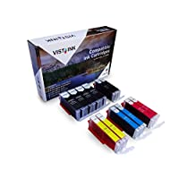 Vista Ink 兼容佳能 PGI-250XL CLI-251XL Canon 251 XL 250 XL 墨盒高容量彩色替換佳能打印機 12-Pack (4 Large BK, 2 Small BK, 2 C, 2 M, 2 Y) 12-Pack (4 Large BK, 2 Small BK, 2 C, 2 M, 2 Y)