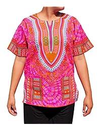 RaanPahMuang 非洲明亮安卡拉大喜吉艺术印花扎染衬衫,带口袋