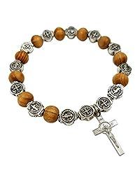 Talisman4U 念珠 天主教手链 Saint St Benedict Medal Crucifix 木珠弹性手链