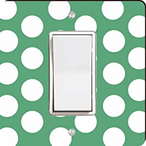 Rikki Knight Polka Dots Single Rocker Light Switch Plate, Green