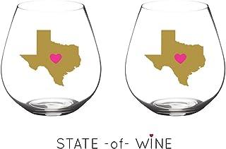 State -of- WIne 不易破损酒杯可用洗碗机清洗 | 套装 | 优雅塑料无柄酒杯 | 共聚酯纤维 | 可重复使用 | 送给德克萨斯州加利福尼亚州的理想礼物 California | Pink Heart