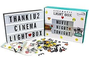 ThanKiu2 Giftshop 影院灯盒字母 - 复古电影中的发光消息标牌 - 个性化 A4 白色 LED 灯箱超长 耐用 USB 数据线 白色 unknown