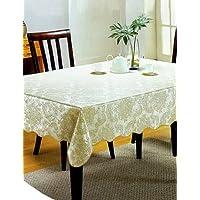 尚品屋 环保PVC桌布 防水防油免洗台布 耐热餐桌布 茶几布 4人桌106*152cm 金色016