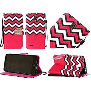 HRWIRELESS(TM) For Alcatel OneTouch Conquest PU Leather Bling Flip Wallet Credit Card Cover Case Hot Pink Chevron