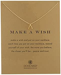 "Dogeared ""Make a Wish"" Wishbone Pendant Necklace, 16"""