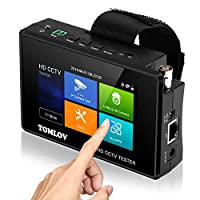TOMLOV * 测试监视器,支持 TVI、CVI、AHD、CVBS、4K H.265 MPEG 8MP IP 摄像头视频测试,快速 ONVIF,4 英寸触摸屏,便携式腕带,PoE 电源输出,黑色