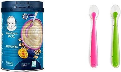 嘉宝Gerber6-36个月婴儿燕麦西梅营养麦粉225g+美国 Munchkin 满趣健 婴儿全硅胶软勺2只