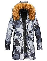 莱诗伯特 羽绒服中长款男户外羽绒服大衣 冬季男士休闲羽绒外套 可拆卸貉子毛领