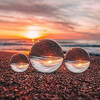 Emart 透明水晶球用于摄影配件和照片道具装饰,K9 水晶镜头球带超细纤维布,相机球和摄影球体(3 件装,60 毫米/80 毫米/100 毫米)
