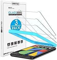 OMOTON [3 件装] 屏幕保护膜适用于 Google 谷歌 Pixel 4 钢化玻璃 简易框架安装防刮擦,仅覆盖显示区域