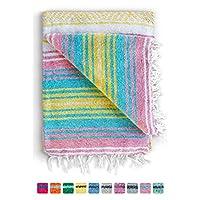 墨西哥毛毯正品 Falsa 厚软:编织腈纶瑜伽蛇或作为海滩抛物、野餐、露营、旅行、远足、冒险、枕头、毛毯,粉色,薄荷,深绿色,天蓝色