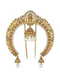 Aheli 女神 Laxmi 发饰胸针柔达别针传统印度时尚首饰适合女性女孩