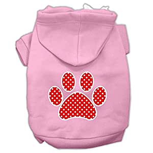 "Mirage Pet Products 20"" Red Swiss Dot Paw 丝网印花宠物连帽衫 浅粉色 3X-Large"