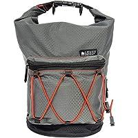 Leashboss KibbleGo 狗粮旅行包,带储物袋和便袋分配器,防水卷顶宠物食品旅行收纳盒,带背带,适合公路旅行和露营 灰色 30 Cup Capacity