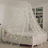 Funkprofi 床罩带荧光星星在黑暗中发光,适合婴儿、孩子、女孩或成人,防蚊