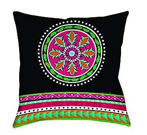 Thumbprintz Square Indoor/Outdoor Pillow, 18-Inch, Boho Medallion Stripe, Black