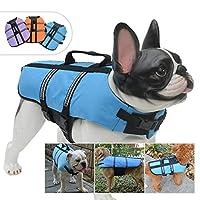 Lovelonglong 宠物服装狗狗救生衣救生衣大中小型犬游泳*划船外套狗狗游泳保护外套 蓝色 L-S (Rec.20-32 Pounds)