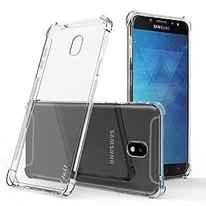 J&D Galaxy J7 2018 手机壳【角坐垫】【轻质】【超清晰】三星 Galaxy J7 2018 防震超薄硅胶保护壳——【不适用于 Galaxy J7 2017 和 Galaxy J7 Prime】 透明的