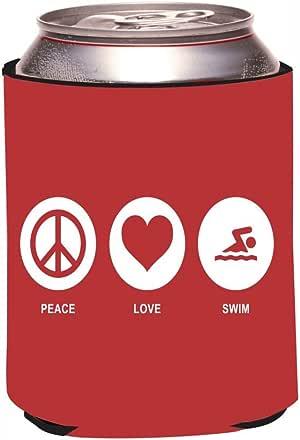 "Rikki Knight RKws-KOOZIE-42455""Peace Love Swim Red Color Design"" Beer Can/Soda Drink Cooler Koozie"