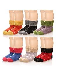 Eocom 6 双儿童冬季厚实保暖羊毛袜 柔软儿童袜 随机颜色