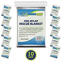 "Primacare HB-10 Emergency Foil Mylar Thermal Blanket (Pack of 10), 52"" Length x 84"" Width"