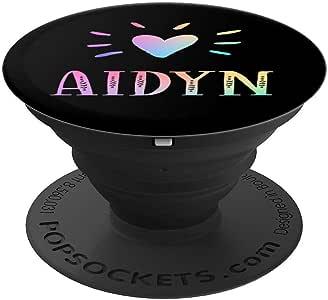 Aidyn Gift 心形彩虹水彩爱心姓名 Aidyn - PopSockets 手机和平板电脑握架260027  黑色