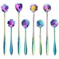 SelfTek 8 件套花勺套装,2 种不同尺寸彩色不锈钢茶匙彩虹咖啡搅拌勺